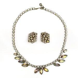 Vintage Gale Rhinestone Necklace And Earring Set